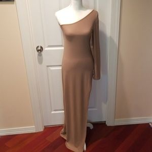 Long High Slit, One Sleeve Dress